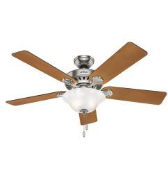 hunter buchanan 52 in indoor brushed nickel ceiling fan with light kit [ 1000 x 1000 Pixel ]