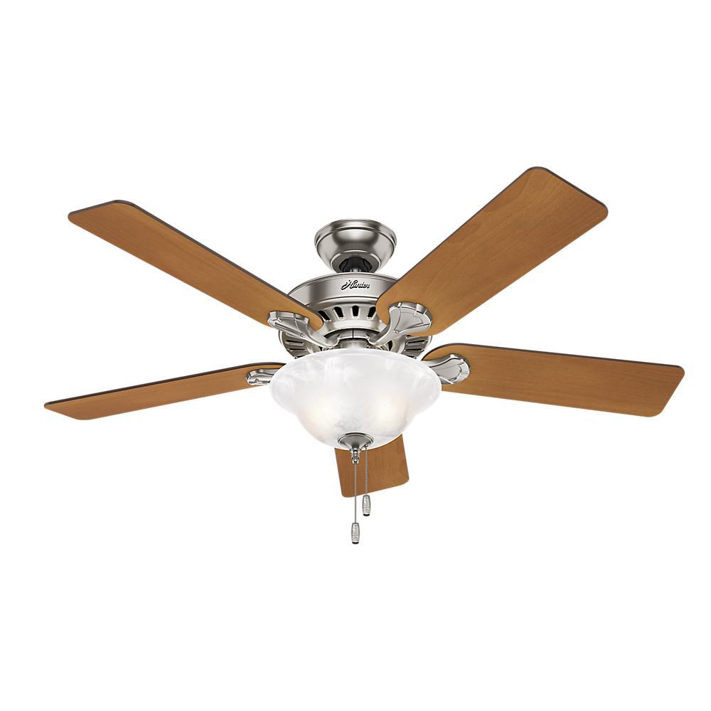 medium resolution of hunter buchanan 52 in indoor brushed nickel ceiling fan with light kit
