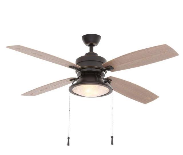Hampton Bay Kodiak  In Indoor Outdoor Dark Restoration Bronze Ceiling Fan With Light Kit  The Home Depot