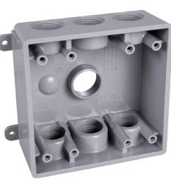 bell 2 gang weatherproof box with seven 1 2 in or 3 4 in outlets pdb77550gy the home depot [ 1000 x 1000 Pixel ]