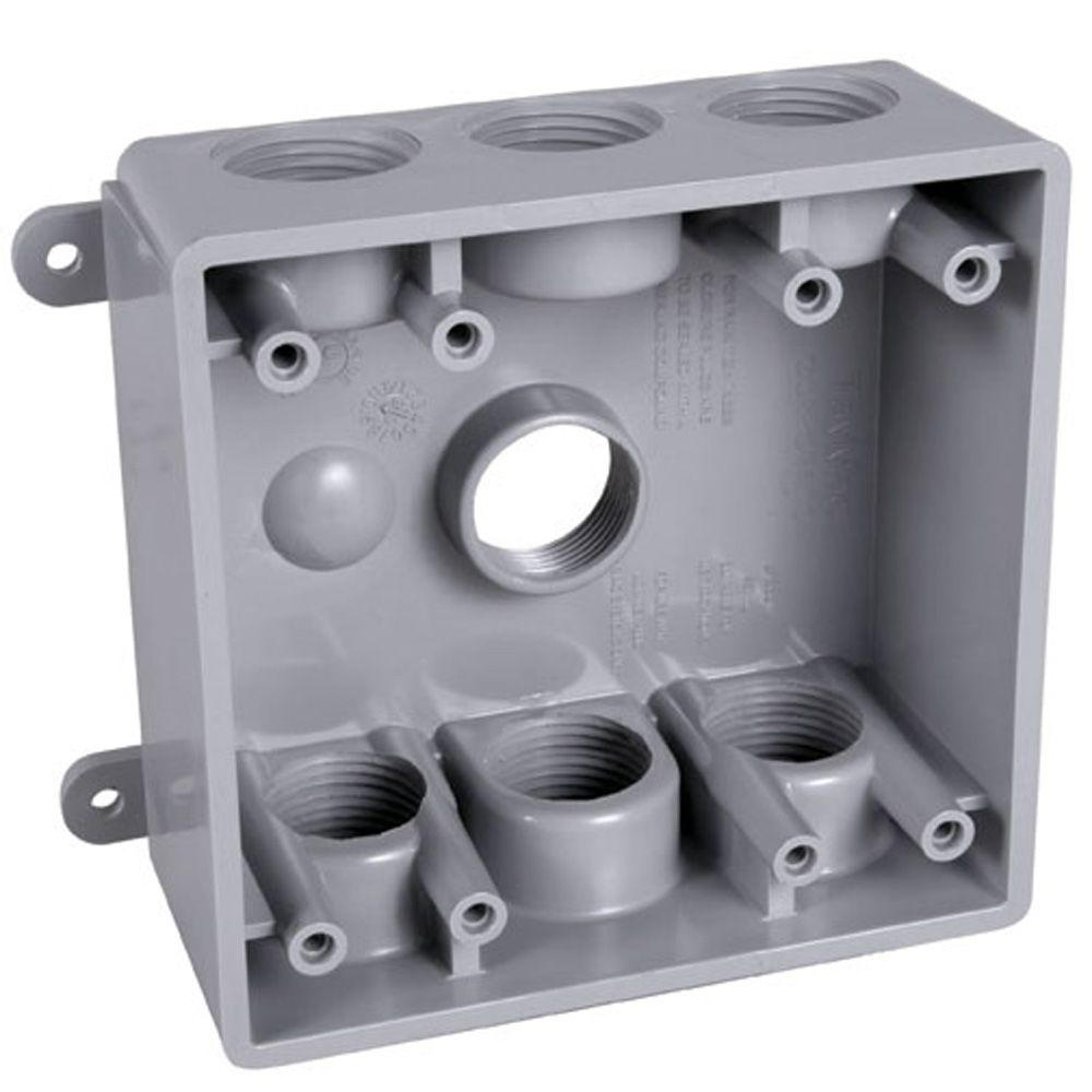 medium resolution of bell 2 gang weatherproof box with seven 1 2 in or 3 4 in outlets pdb77550gy the home depot