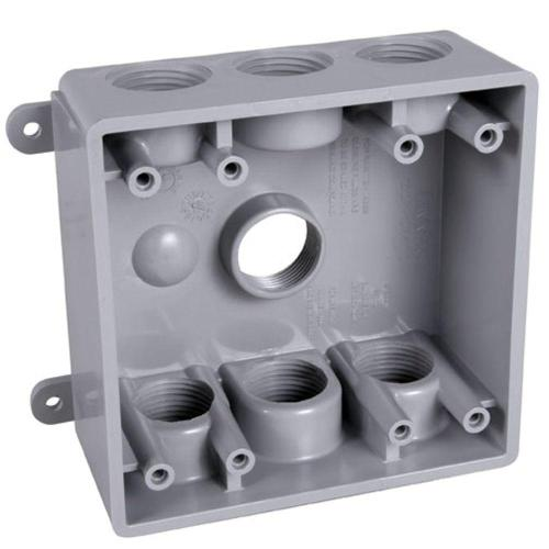small resolution of bell 2 gang weatherproof box with seven 1 2 in or 3 4 in outlets pdb77550gy the home depot