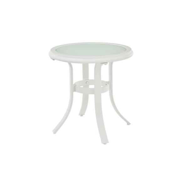 riverbrook shell white round glass top aluminum outdoor patio side table