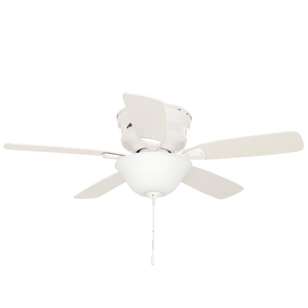 hight resolution of hunter low profile 48 in indoor white ceiling fan with light kit