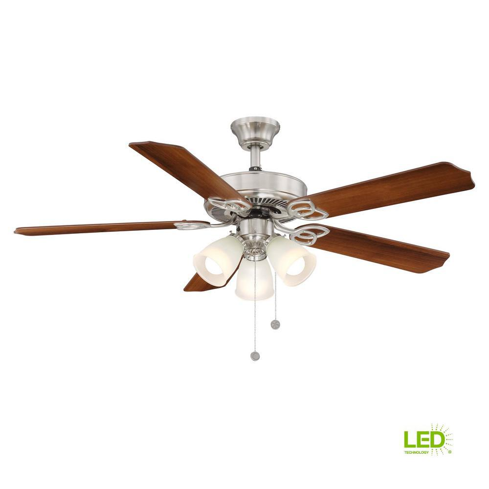 medium resolution of led indoor brushed nickel ceiling fan with light kit