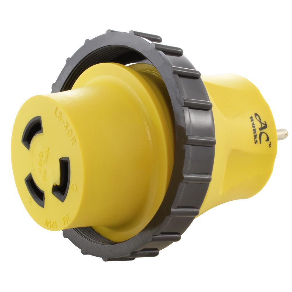 medium resolution of ac works rv marine adapter regular household 15 amp plug to 30 amp l5 30p wiring ac plug