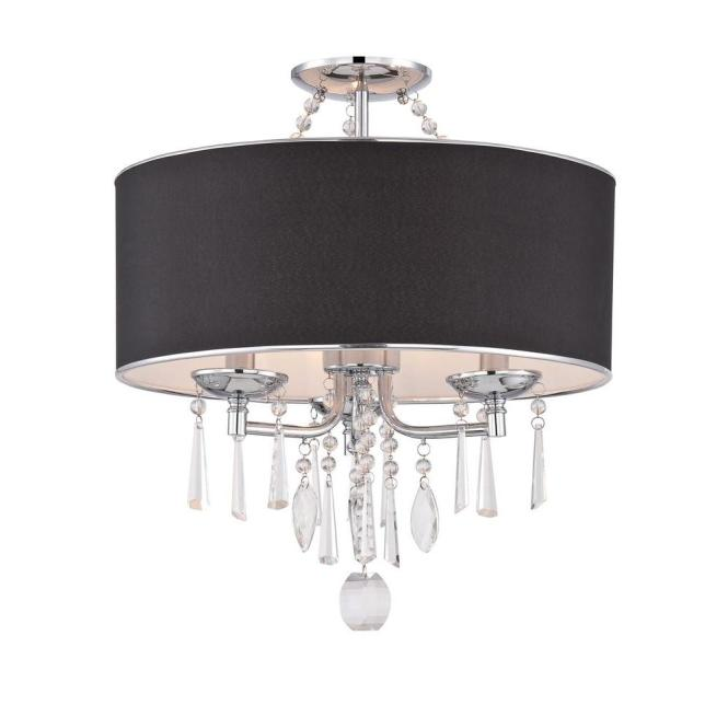 World Imports Elton Collection 3 Light Chrome Semi Flush Mount With Black Shade Wi974908 The Home Depot