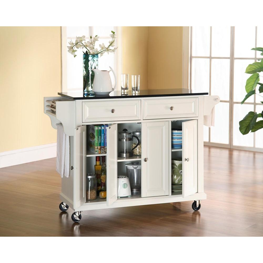 granite top kitchen cart cheap sink crosley white with black kf30004ewh the home depot