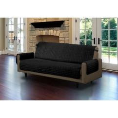 Quilted Microsuede Sofa Cover Leather In Kerala Black Microfiber Pet Protector Slipcover With Tucks And Strap Ls Sc406646 The Home Depot