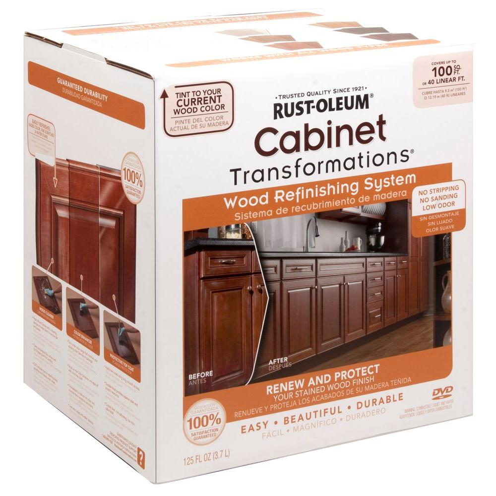 home depot painting kitchen cabinets curtains for bay windows rust oleum transformations cabinet wood refinishing system kit