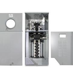 ge 200 amp 4 space 8 circuit outdoor combination main breaker ringless meter socket load [ 1000 x 1000 Pixel ]
