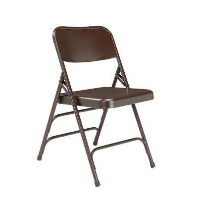 brown wooden folding chairs french accent tables furniture the home depot nps 300 series premium all steel triple brace chair