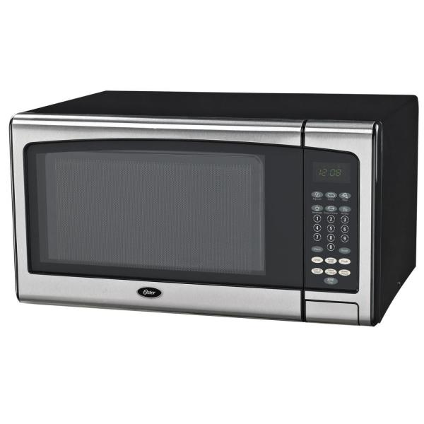 Oster Countertop Microwave Stainless Steel Black 1.1 Cu. Ft. 1000-watt With Push Button