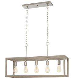 home decorators collection boswell quarter 5 light brushed nickel island chandelier with weathered wood accents [ 1000 x 1000 Pixel ]