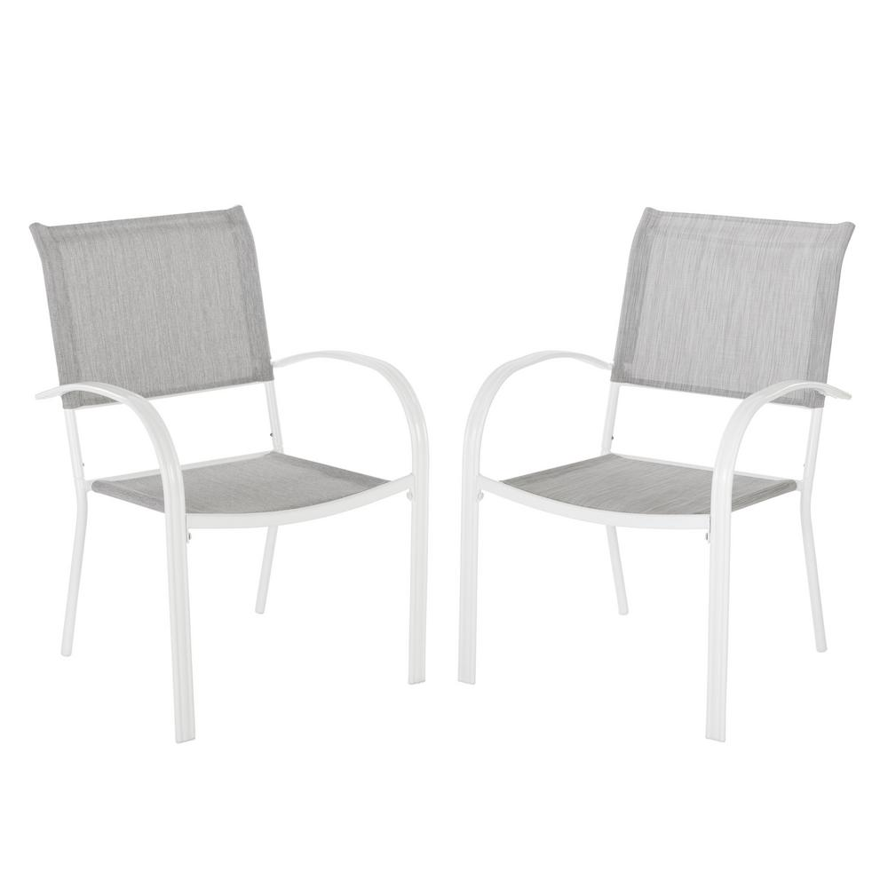 White Stackable Chairs Hampton Bay Mix And Match White Stackable Sling Outdoor Dining Chair In Wet Cement 2 Pack