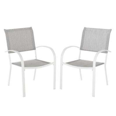 stackable metal patio chairs outdoor wicker chair cushions dining the home depot mix and match white sling in wet cement 2 pack