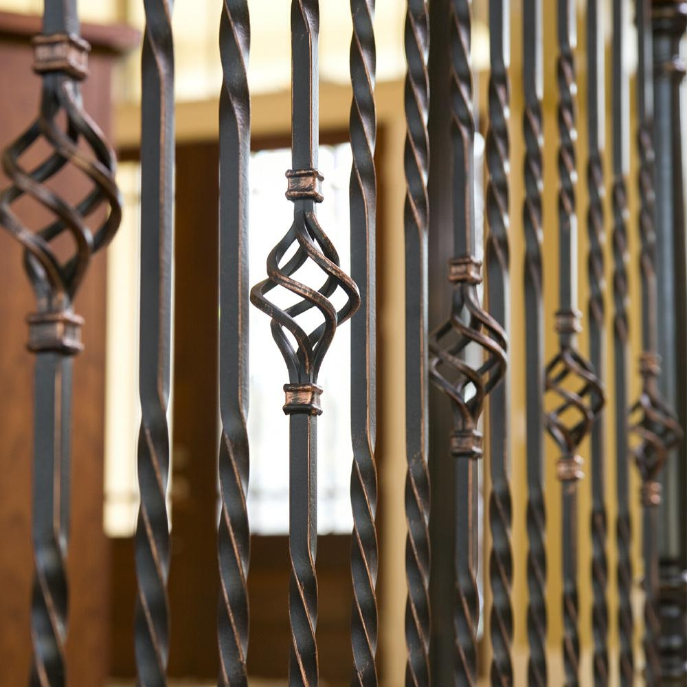 Stair Parts 44 In X 1 2 In Oil Rubbed Copper Metal Double Twist | Metal Stair Railing Home Depot | Cast Iron Handrail | Porch Railings | Spindles | Balusters | Aluminum Railing