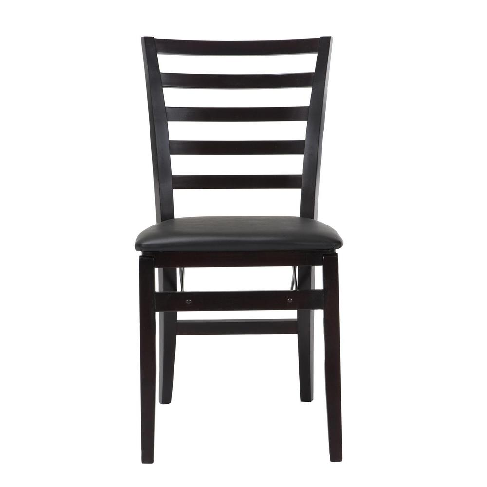 Cosco Contoured Back Espresso Wood Folding Chairs with