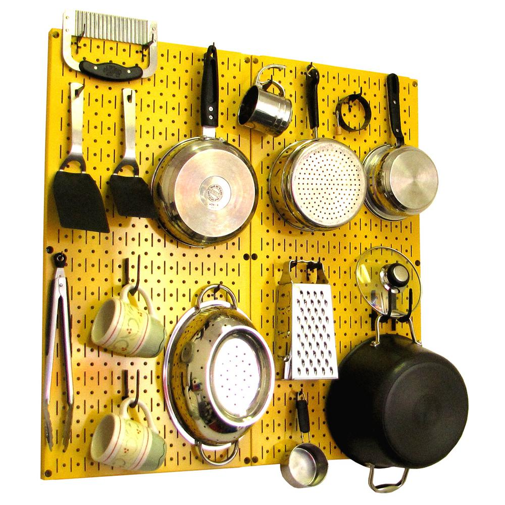 kitchen pegboard small storage solutions wall control 32 in x metal peg board pantry organizer pot rack yellow and black hooks 31 kth 210 yb the home