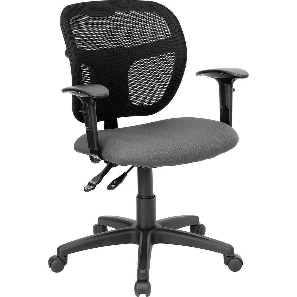 Task Chairs With Arms Mid Back Gray Mesh Swivel Task Chair With Fabric Padded Seat And Height Adjustable Arms