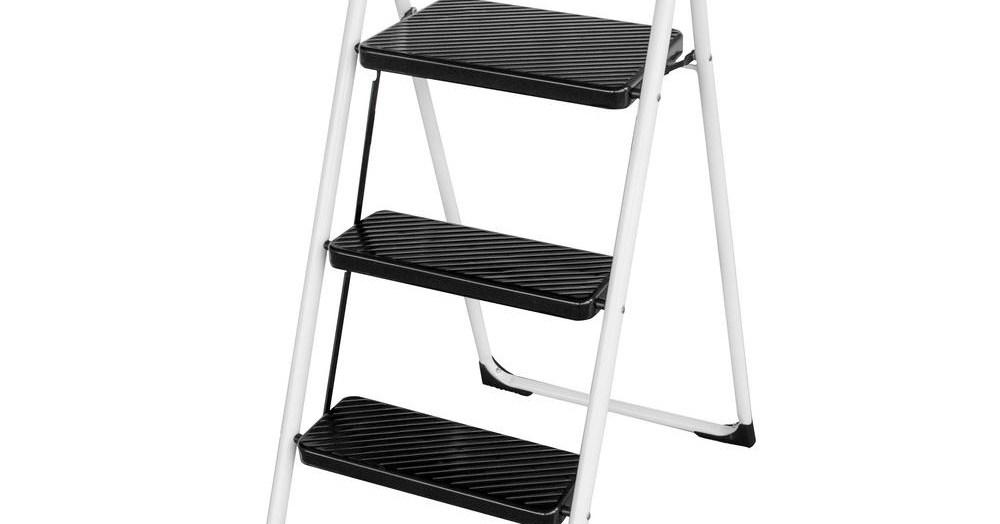 Amerihome 3 Step Metal Folding Utility Step Ladder 805192 The   Metal Steps Home Depot   Wrought Iron Railings   Flashing   Step Stool   Deck Railing   Stair Treads