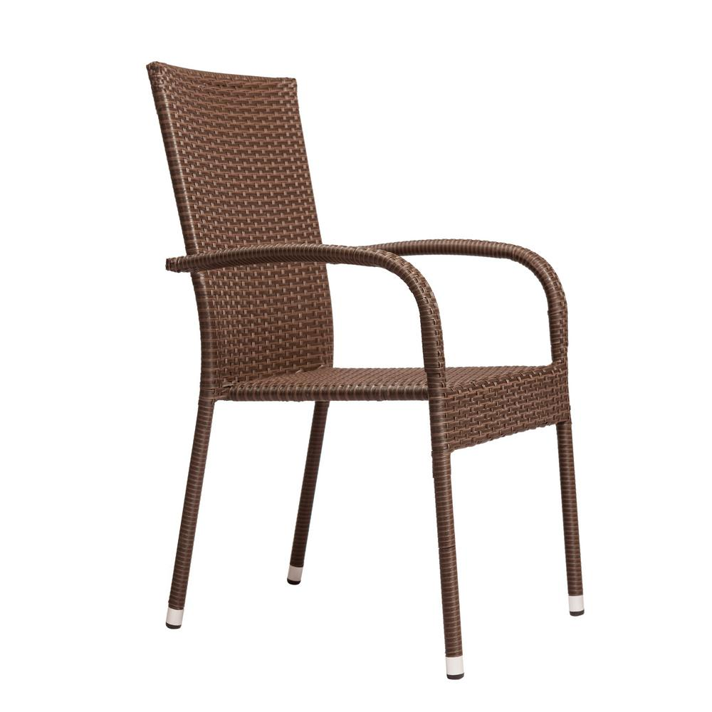 Stacking Dining Chairs Patio Sense Morgan Stacking Resin Wicker Outdoor Dining Chair In Mocha 4 Pack