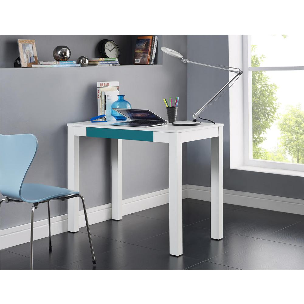 Altra Furniture Delilah White and Teal Desk with Storage