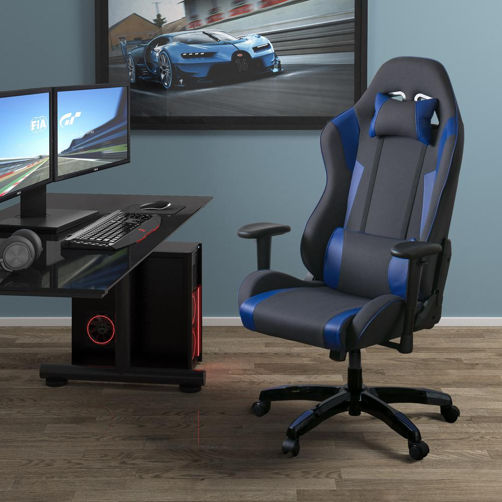 office chair with adjustable arms iron throne corliving grey and blue high back ergonomic gaming height