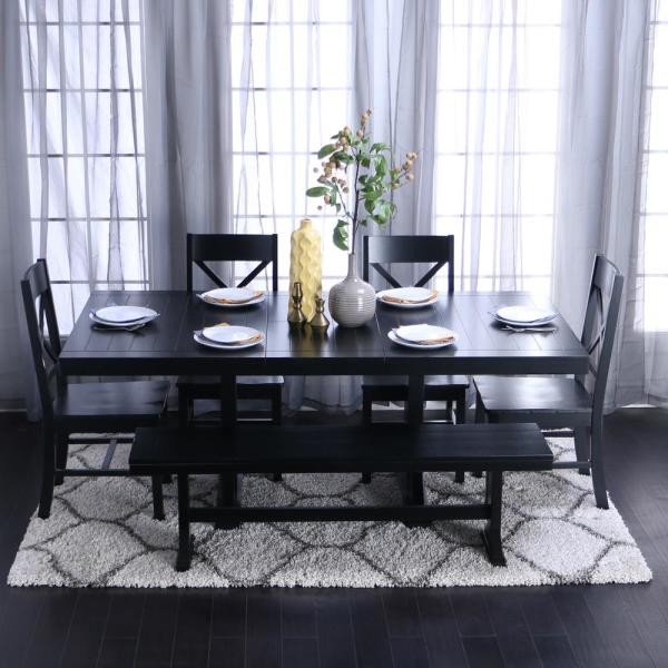 Walker Edison Furniture Company 6 Piece Traditional Wood Dining Set Antique Black Hd60w2bl The Home Depot