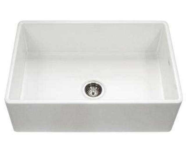 Platus Series Farmhouse Apron Front Fireclay  In Single Bowl Kitchen Sink In White
