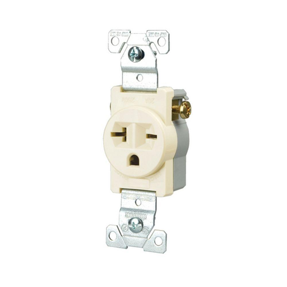 medium resolution of eaton commercial grade 20 amp straight blade single receptacle with side wiring light almond