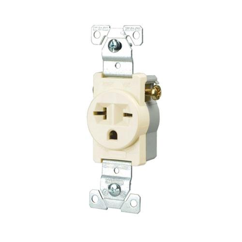 small resolution of eaton commercial grade 20 amp straight blade single receptacle with side wiring light almond