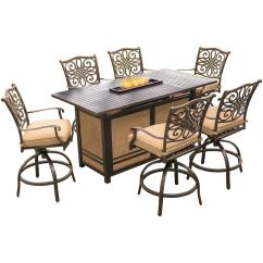 Bar Height Table And Chairs Outdoor Solid Oak Rocking Chair Patio Dining Sets Furniture The Home Depot Traditions 7 Piece Aluminum Rectangular