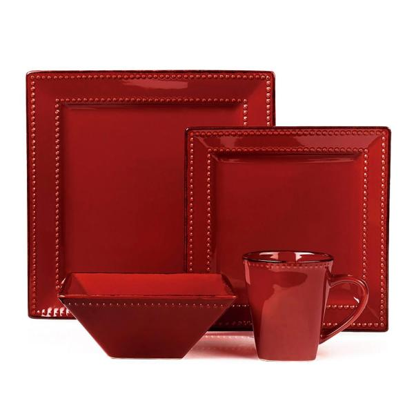 Lorren Home Trends 16-piece Red Square Beaded Stoneware