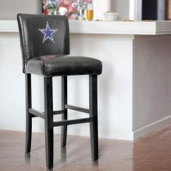 Dallas Cowboys Chair Cover Plastic Dining Covers 30 In Black Bar Stool With Faux Leather Set Of 2