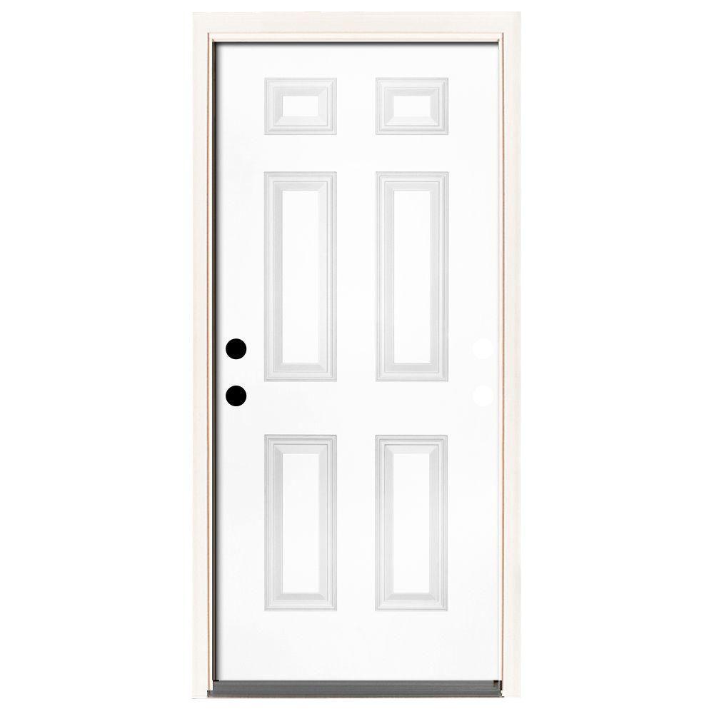 Steves & Sons 32 in. x 80 in. Premium 6-Panel Primed White