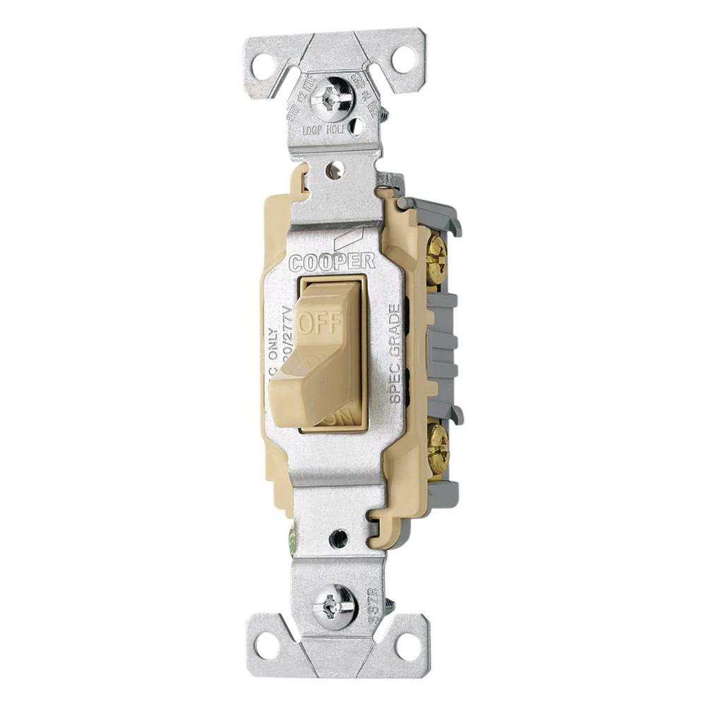 hight resolution of eaton 20 amp double pole premium toggle switch ivory cs220v the shop cooper wiring devices 20amp ivory double pole light switch at