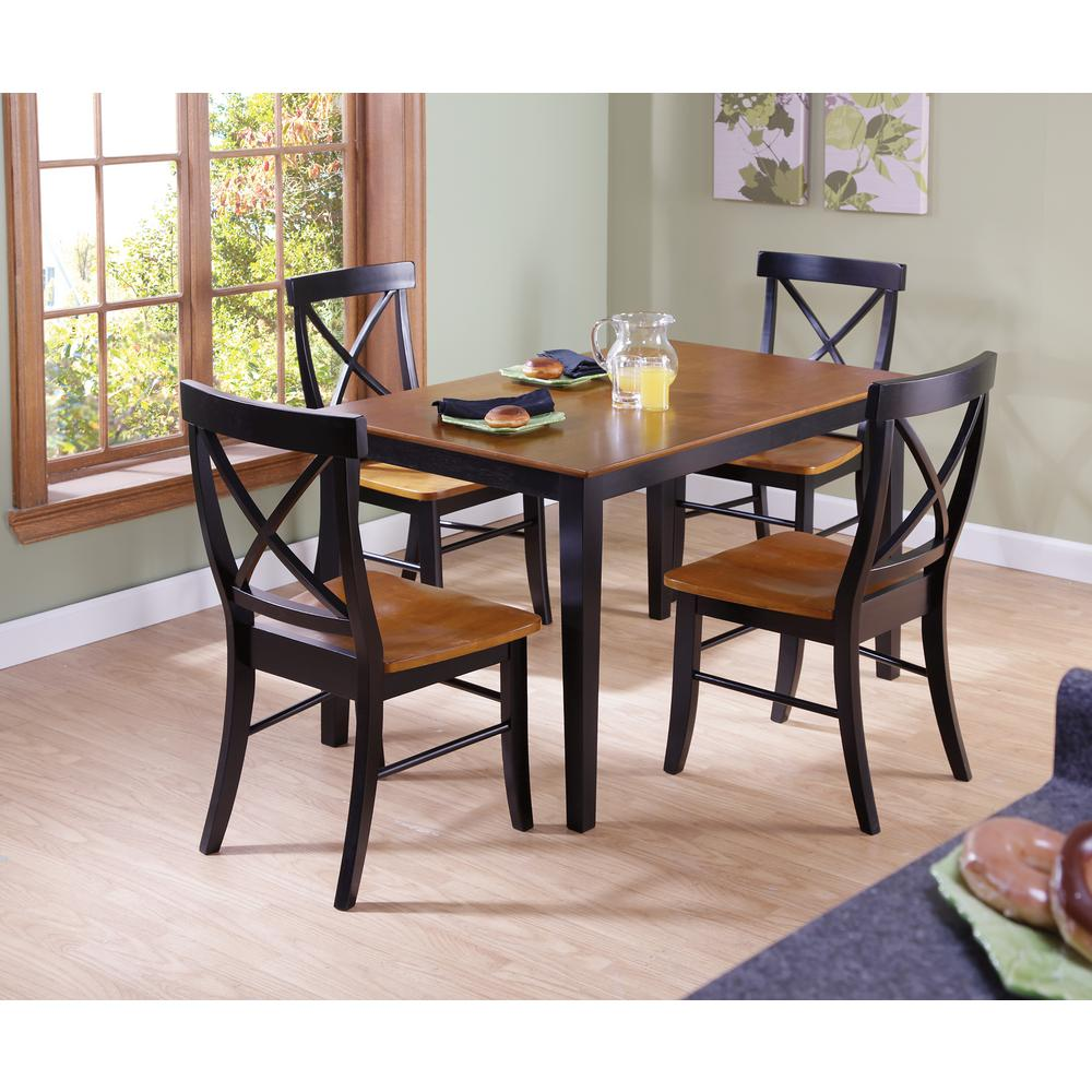 Dining Room Chairs Set Of 4 Dining Essentials 5 Piece Black And Cherry Solid Wood Set