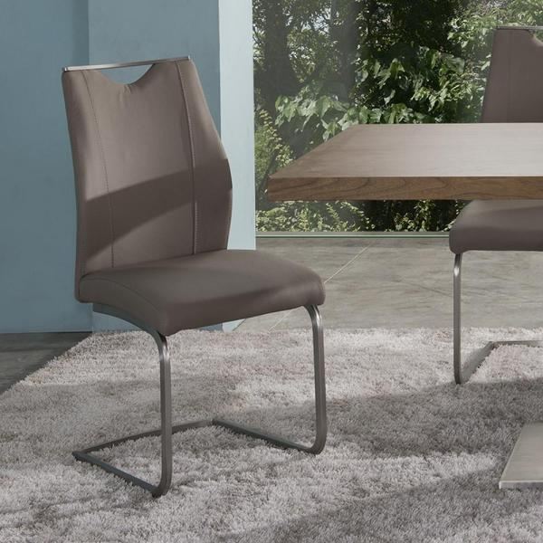 Stainless Steel and Leather Dining Chairs