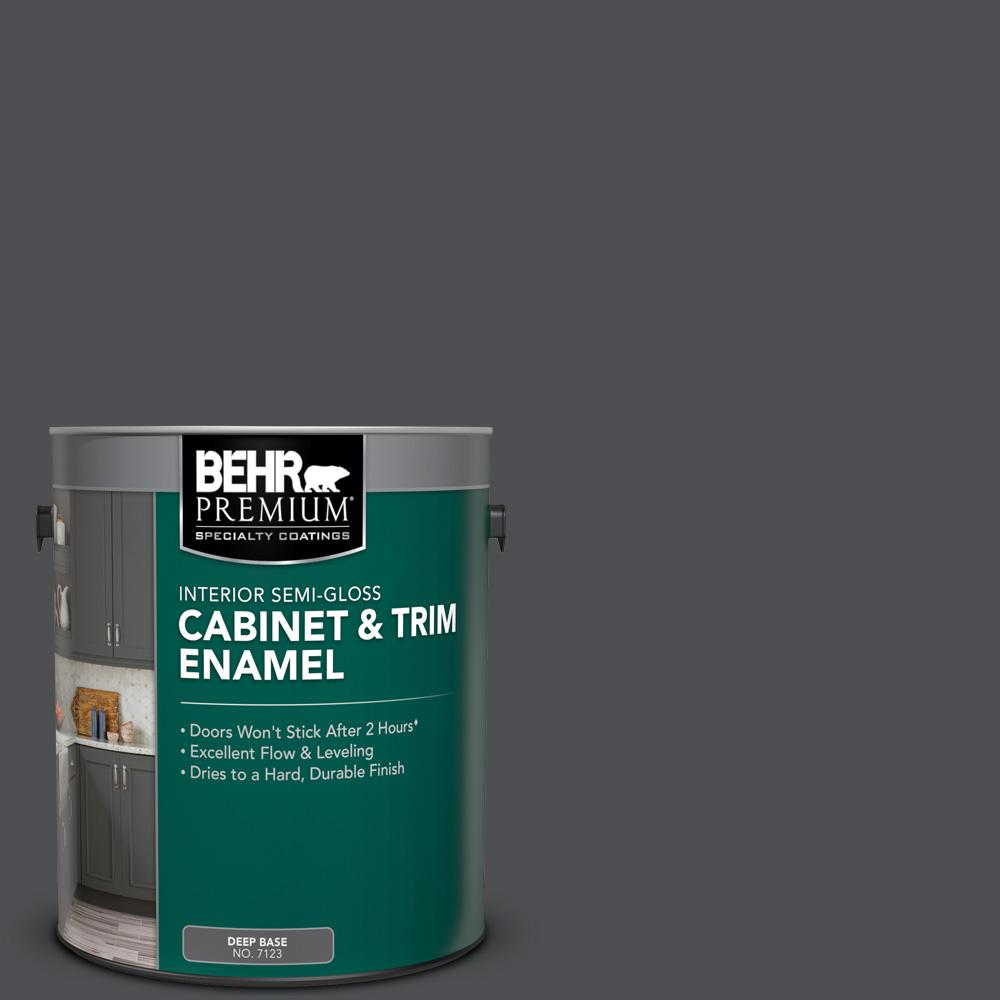 Behr Premium 1 Gal Ppu26 01 Satin Black Semi Gloss Enamel Interior Cabinet And Trim Paint 712301 The Home Depot