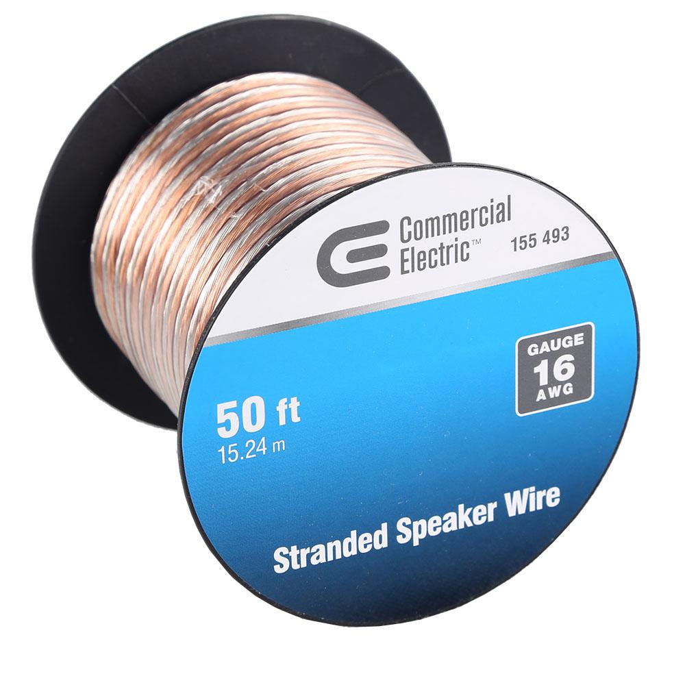 hight resolution of commercial electric 50 ft 16 gauge stranded speaker wire y280730 home speaker wire size 16 gauge