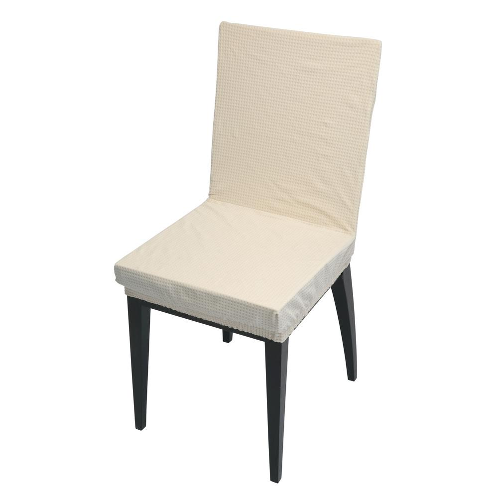 Your Chair Covers 41 73 In X 15 75 In Pixel Ivory Stretch Dining Chair Slip Cover