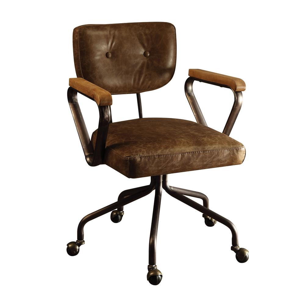 unique leather office chairs childrens wooden table and set acme furniture hallie vintage whiskey top grain chair