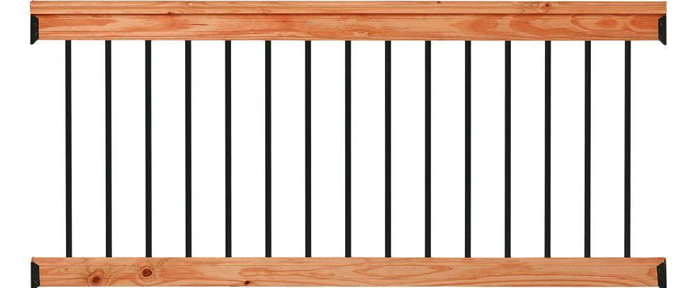 Deckorail 6 Ft Redwood Deck Rail Kit With Black Aluminum   Pressure Treated Wood Balusters   Deck Balusters   Rail Kit   Aluminum Balusters   Deckorators   Stair Railing