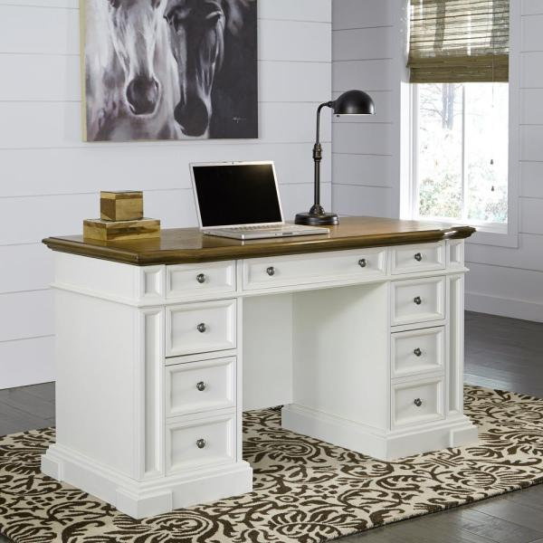 Home Styles Americana White Desk With Storage-5002-18