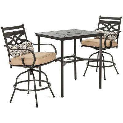 bar height table and chairs outdoor stressless chair squeaks patio dining sets furniture the home depot montclair 3 piece metal set with country cork cushions swivel