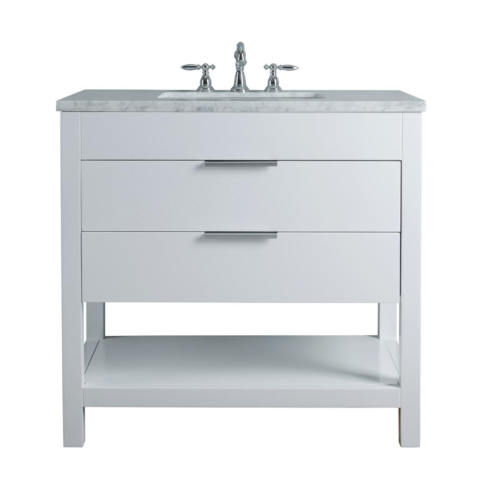 Bathroom Vanity Top With Sink Stufurhome Rochester 36 In White Single Sink Bathroom Vanity With Marble Vanity Top And White Basin