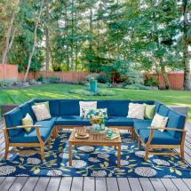 Noble House Giancarlo Teak 10-piece Wood Outdoor Sectional