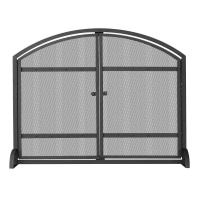 UniFlame 1-Panel Arch Top Black Wrought Iron Fireplace ...