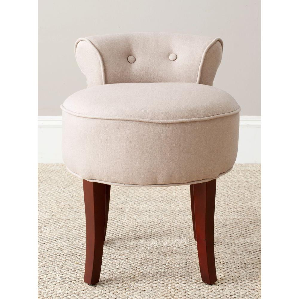 Vanity Chairs Safavieh Georgia Taupe Linen Vanity Stool Mcr4546a The Home Depot